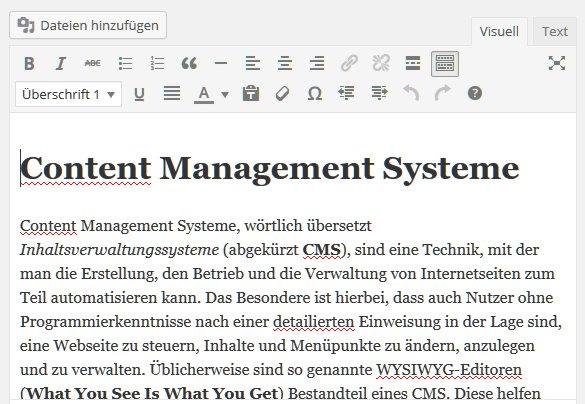 Der WYSIWYG Editor des CMS WordPress