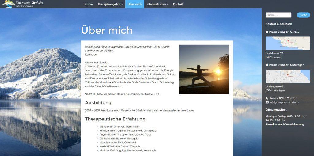 """Bild vom Webdesign """"Naturpraxis Schuler"""""""