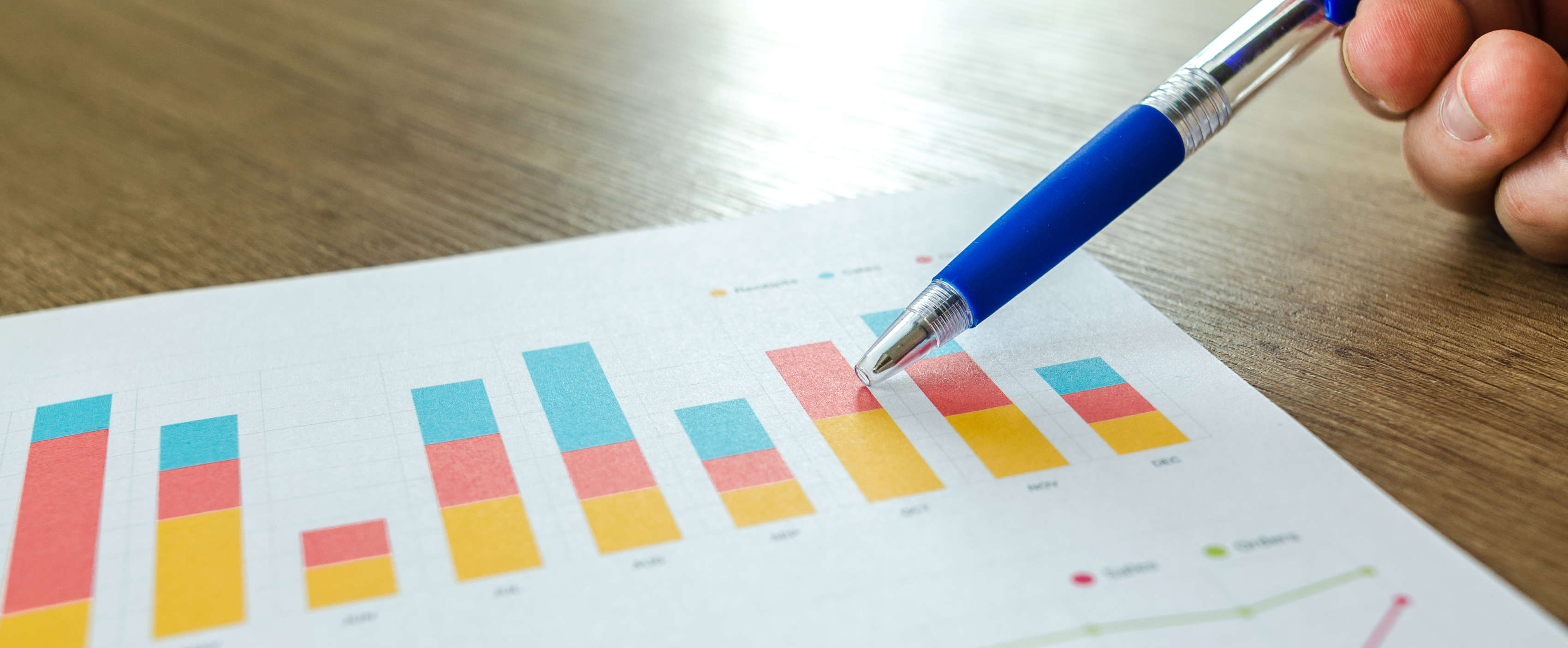 Statistiken und ein Stift zeigen die Preisgestaltung und diie Frage, was eine Webseite kostet