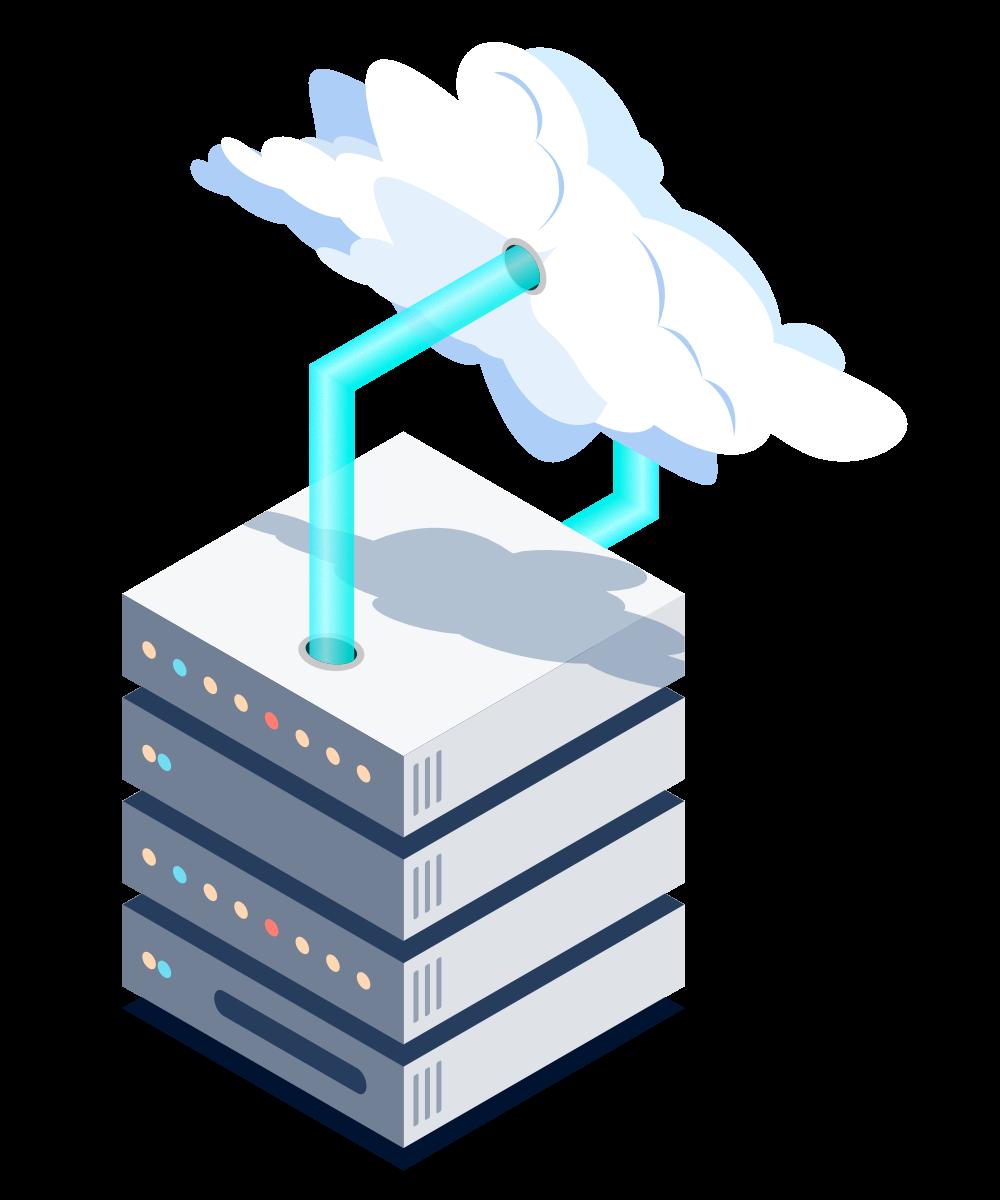 Isometrische Darstellung von Cloud Servern wie Amazon Web Services oder Microsoft Azure